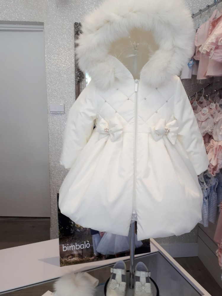 19642242d Cream Bimbalo Fur Trim Coat