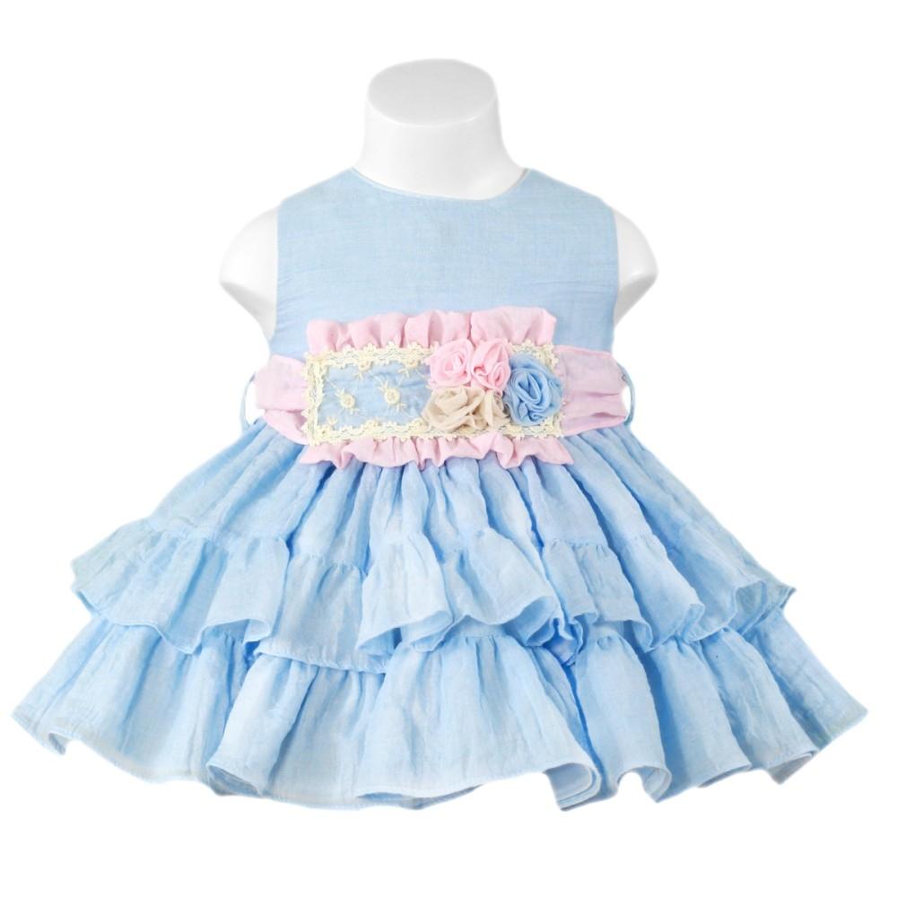Miranda Baby Deep Blue Dress with Flower Waist
