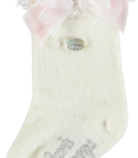 a7edccf19 Piccola Speranza Cream Knee High Socks with Pink Bow