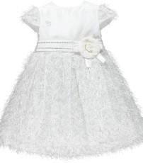0200248e5 Piccola Speranza Girls Longer White & Silver Sparkle Dress
