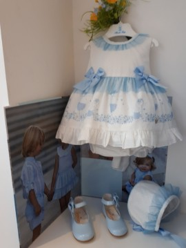 Abuela Tata Ivory & Blue Tulle Baby Dress with Bonnet