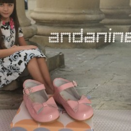 Andainnes DIamante Bow Girls Hard Soled Shoes