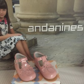 Andainnes Pink Flower Girls Hard Soled Shoes
