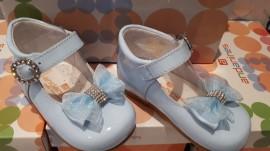 Andanines Blue Organza Bow Shoes