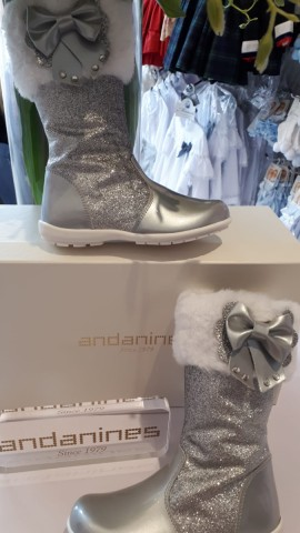 Andanines silver glitter knee high fur trim boots