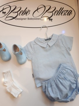 Babidu boys white & blue striped shirt & blue pants