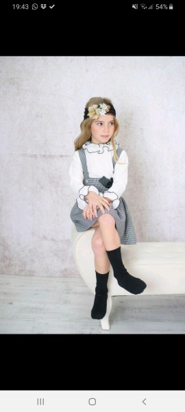 Baja Costura black & white checked pinafore & blouse
