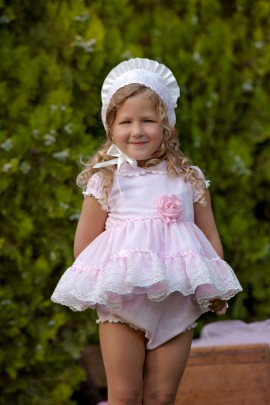 Bea Cadillac Pink Frill Baby Dress & Pants (BONNET SOLD SEPERATELY)