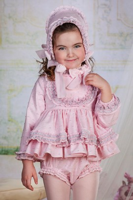 Bea Caillac Pink & Grey Baby Dress & Pants