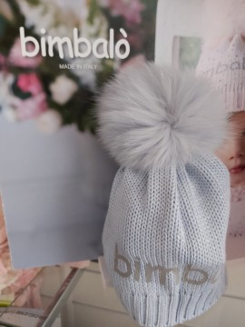 Bimbalo boys blue logo pom hat