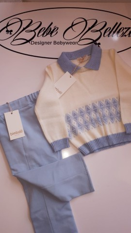 Bimbalo boys Blue trousers & cream with blue sweater
