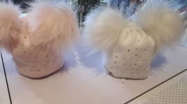 Diamante tie on Faux Fur Double Pom Hat