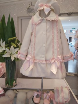 Exclusive to Bebe Belleza Cream & pink coat