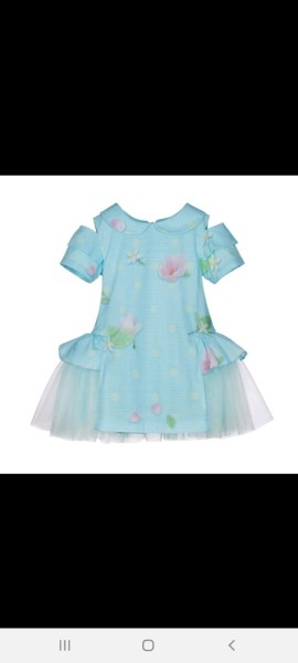 Lapin house aqua dress with tulle detailing