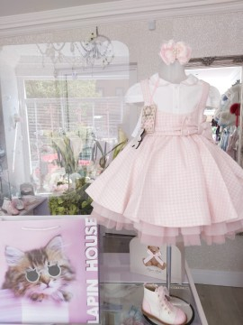 Lapin House PINK & white checked pinafore