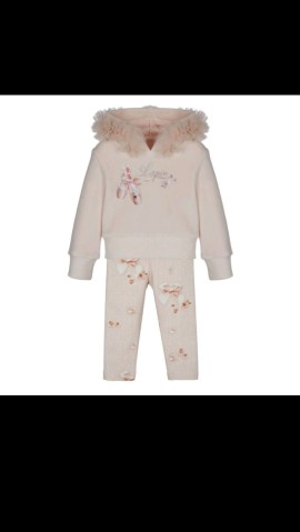 Lapin House Pink Ballerina Velour Hooded Top & Trousers