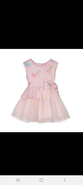 Lapin house pink candy dress with tulle overlay