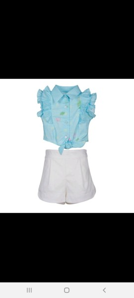 Lapin house Turquoise  ruffle blouse with white shorts