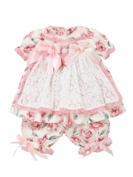 Little Darlings Pink Rosey Glow Baby Dress & Bloomers