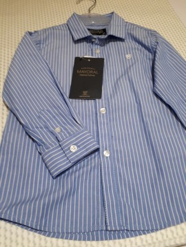 Mayoral Blue & White Striped Shirt