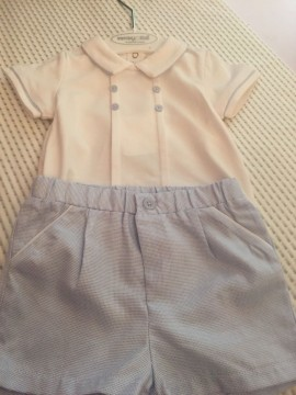 Mayoral Boys White Top & Pale Blue Shorts Set