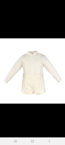 Miranda boys cream long sleeved shirt & shorts