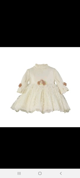 Miranda cream lace baby dress with flower details