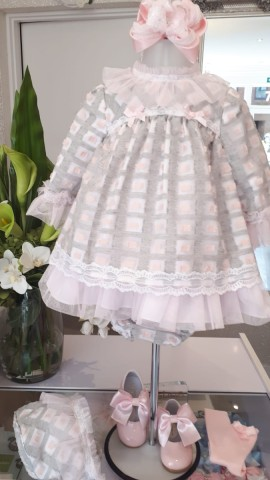 Miranda grey & pink tulle tulle trim baby dress
