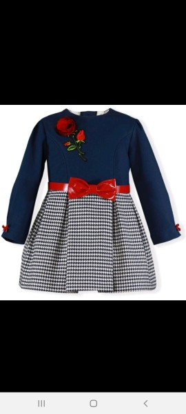 Miranda navy & red dogtooth belted dress