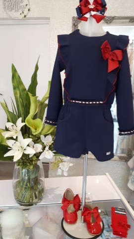 Miranda navy with red bow playsuit