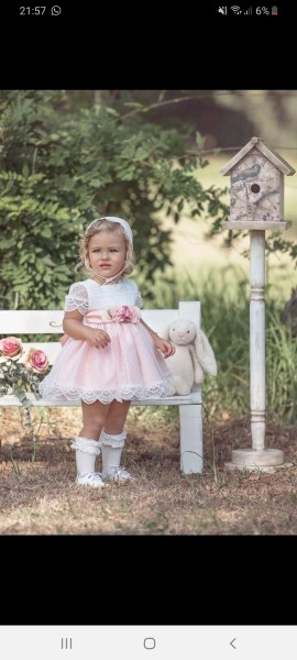 Miranda peach baby dress & bonnet with ivory lace.