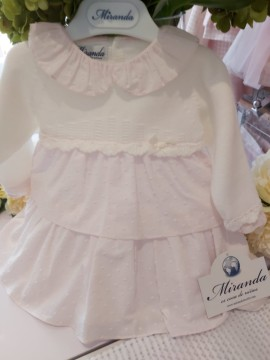 Miranda Pink Dress with cream knitted detail