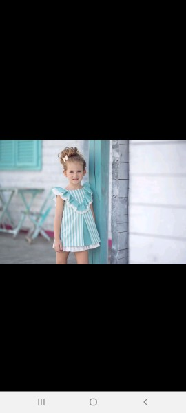 Miranda white & mint green striped ruffle dress