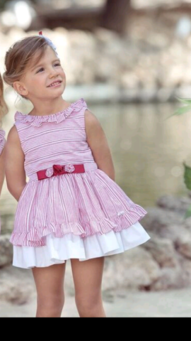 Miranda white & red striped older girl dress