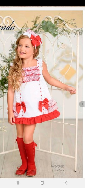 Miranda white & red striped ruffle girl's dress