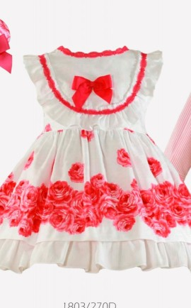 Miranda white girls dress with pink flowers