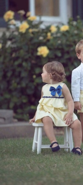 Miranda yellow & navy baby straight dress