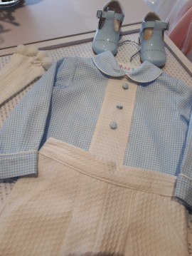 Peit Bebe Checked Collared Shirt & White Shorts