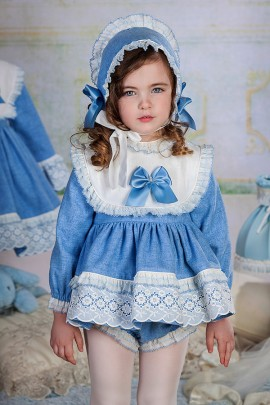 Petit Bebe Blue & Cream Denim Look Baby Dress & Pants
