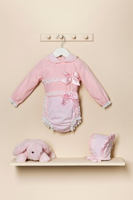 Petit Bebe Pink Gingham Jam Pants Set