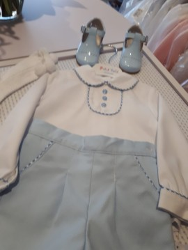 Petit Bebe White Collared Shirt & Blue Shorts