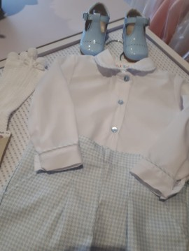 Petit Bebe White Collared Shirt & Checked Shorts