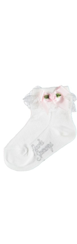 Piccola Speranza Ankle Socks with Lace and Rosebud