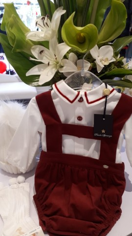 Piccola Speranza boys red h-bar romper & blouse