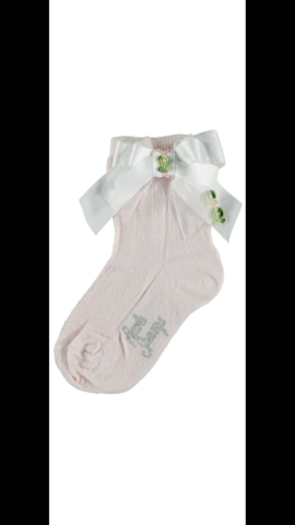 Piccola speranza pink ankle socks with white bow