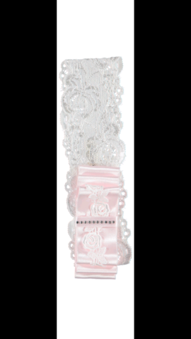 Piccola speranza pink double bow lace headband
