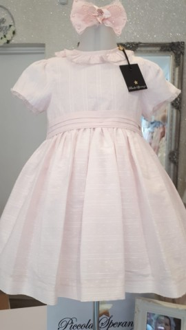 Piccola Speranza pink shimmer baby  dress
