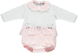 Piccola Speranza White & Pink Lace Trim Romper