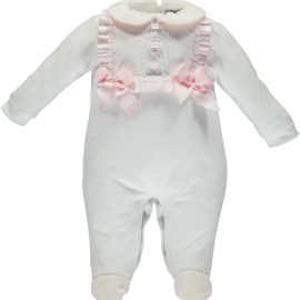 Piccola Speranza white babygrow with pink bows