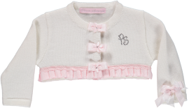 Piccola Speranza White/Cream Cardigan with Flower Embelishment
